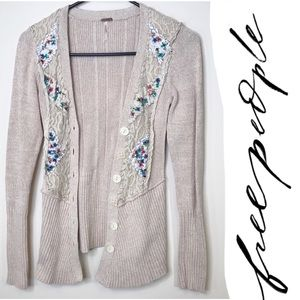 Free People blush beige lace rough stitch beaded S